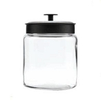 '96 oz Montana Glass Jars w/Black Metal Lids - 2ct' from the web at 'http://www.candyconceptsinc.com/assets/images/075-96712_large_thumbnail.jpg'