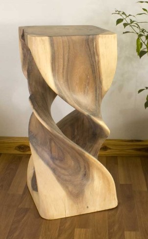 Hand Carved Double Twist Stand 12 Quot X 26 Quot Wood Stand