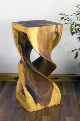 Double Twist Hand Carved Stool Stand Wooden Stand