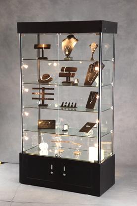 lighted tower display case display cabinet lighted. Black Bedroom Furniture Sets. Home Design Ideas