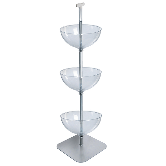 Three Tiered Bowl Floor Display Retail Bowl Display Racks