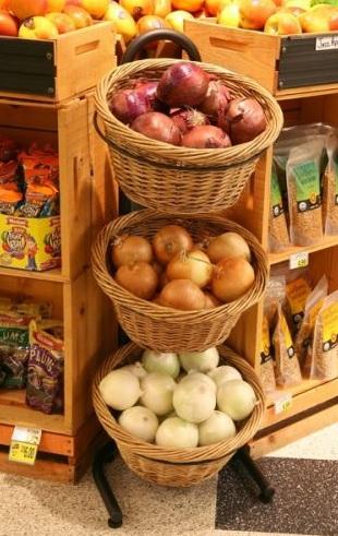3 Basket Wicker Display Wicker Produce Display Candy