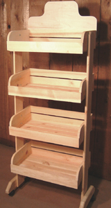 Wooden 4 Crate Rack With Casters Produce Display Crates