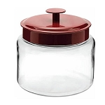 '64 oz Mini Montana Jars w/Red Metal Lids - 2ct' from the web at 'http://www.candyconceptsinc.com/assets/images/64-oz-mini-montana-jars-red-metal-lids-1a_thumbnail.jpg'
