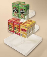 Three Tier Cereal Box Display - Lazy Susan Base