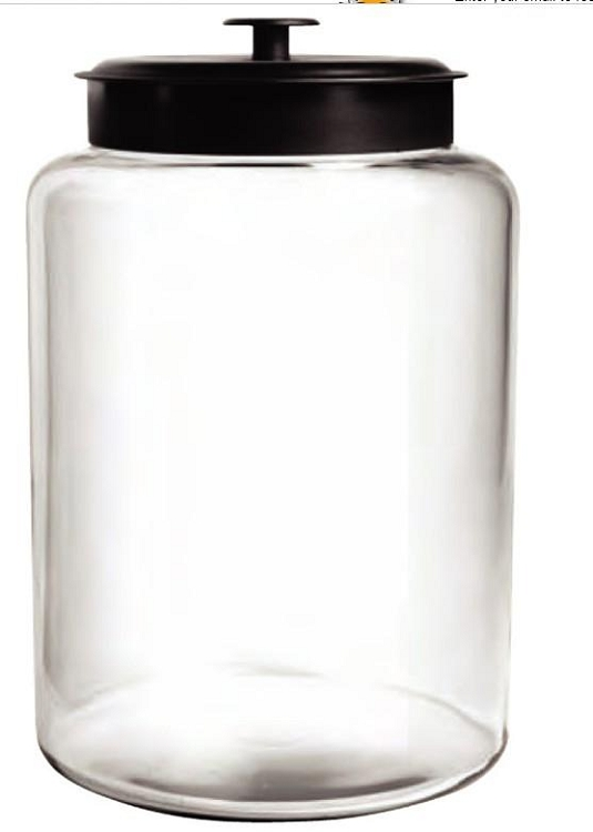 2 gallon montana glass jar wblack metal lid - Glass Containers With Lids