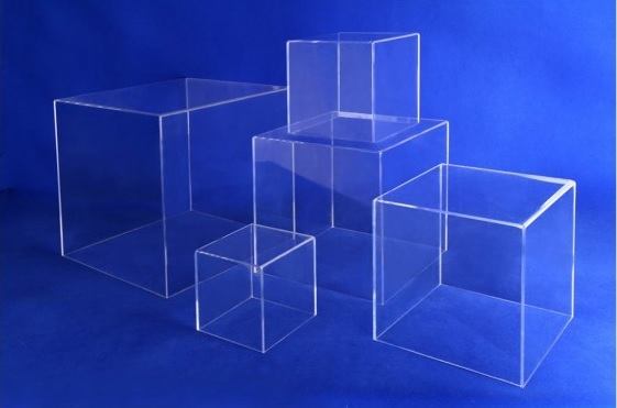 Clear Acrylic 5 Sided Cube Display Boxed Risers Acrylic