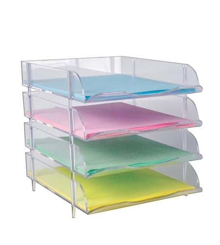 clear stackable letter tray 4ct plastic paper tray bin