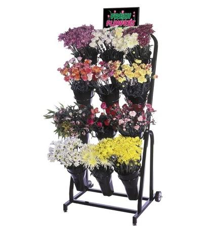 12 Vase Floral Cart Mobile Flower Shop Display Stand