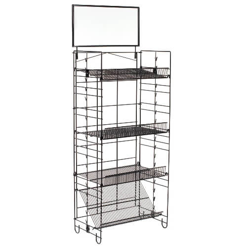 Photo Wire Display four shelf wire rack | clipping strips display | retail wire