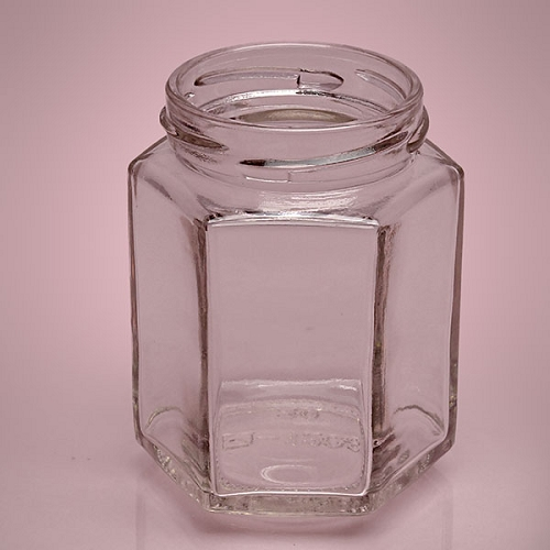 small hexagon glass jars with lids 12ct