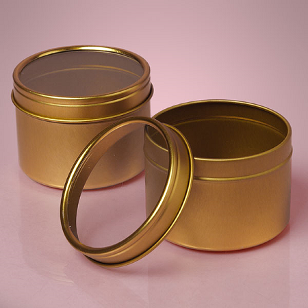 Small Gold Windowed Tins Round Tins Clear Windowed Tin