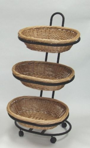Large 3 Tier Oval Wicker Display Produce Display Wicker