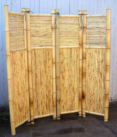 Four panels bamboo screen divider bamboo screens for Outdoor bamboo screen panels