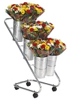 Mobile Flower Display w/Galvanized Vases & Liners