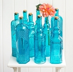 Blue Glass Vintage Decanter Bottle Vases 12in - 12ct