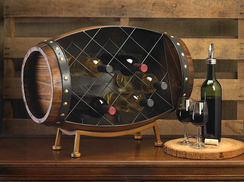 Barrel Wine Bottle Holder Rustic Wine Display Vintage