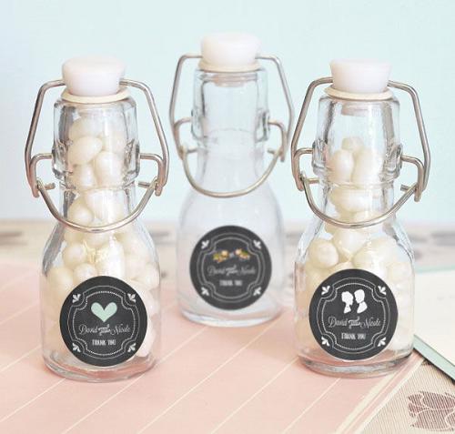 Mini-Wine Bottles For Wedding Gifts : Chalkboard Wedding Mini Glass Bottles Mini Glass Bottles Favors ...