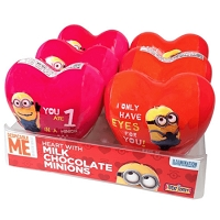 Chocolate Minions In Plastic Heart  - 12ct