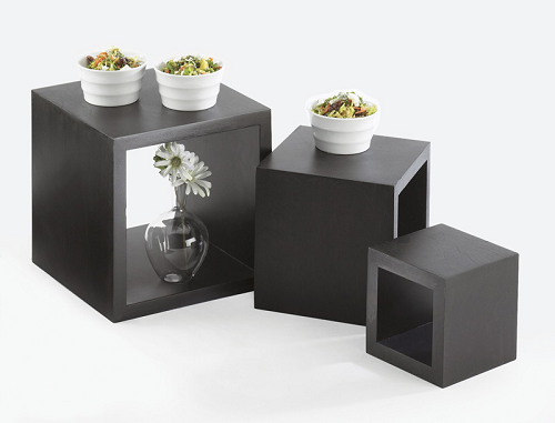 Home > Hotel / Buffet Supplies > Risers / Surfaces > Cube Risers Set -  Black Bamboo - Cube Riser Set Square Display Black Bamboo Riser Cubes
