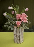Folded Birch Bark Vase - 6ct