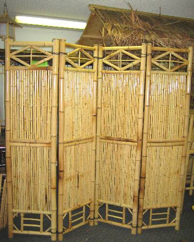 Four Panel Bamboo Screen Divider Bamboo Partitions