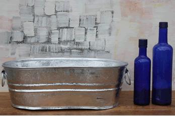 Galvanized Oval Tub Floral Display Wedding Accessory