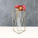 Geometric Metal Table Bud Vase 8.75