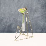 Gold Geometric Metal Bud Vase 9.5
