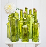 Green Glass Vintage Decanter Bottle Vases 12in - 12ct