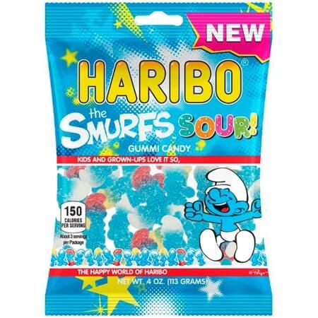 Sour Smurfs Gummy Peg Bags - 12ct