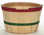 Half Peck Baskets - Red and Green Bands - 12ct