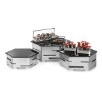 Hexagon 6 Piece Stainless Steel - Black Riser Set