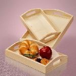 Large Curved Wooden Top Slot Tray Set w/Handles - 6ct