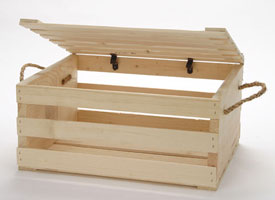 2 Wood Crates With Lids and Rope Handles | Wood Display Box
