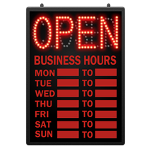 led open closed sign with business hours store signs signage. Black Bedroom Furniture Sets. Home Design Ideas