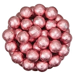 Light Pink Foil Chocolate Balls - 10lbs