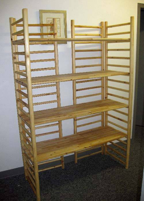 Wood Dowel Ladder Rack Display With 4 Adjustable Shelves