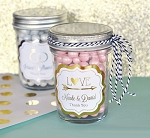 Metallic Foil Wedding Mini Mason Jars - 24ct