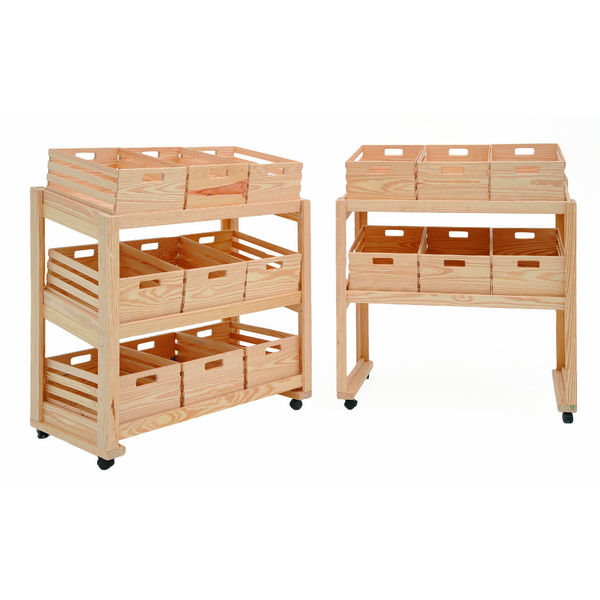 Small Mobile Crate Display Crate Display Rack Wooden
