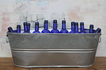 Large Oval Galvanized Tub Metal Beverage Cooler