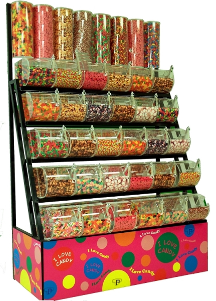 5 Tier Candy Rack With Acrylic Bins 8 Tubes Large