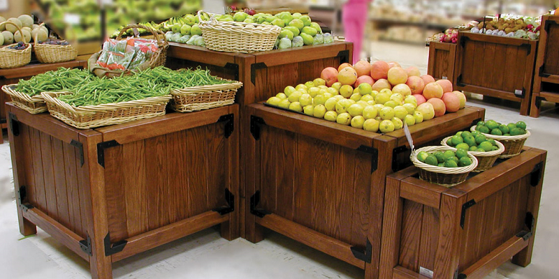 Produce Display Bins And Fixtures