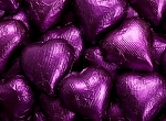 Purple Milk Chocolate Hearts - 10lbs