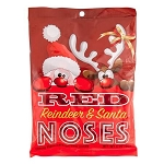 Red Reindeer And Santa Noses Peg Bag - 12ct