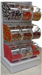 White Slatwall Candy Rack - 9 Round Face Bins