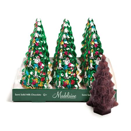 CHRISTMAS Tree Foil Semi Solid Chocolate  - 12ct