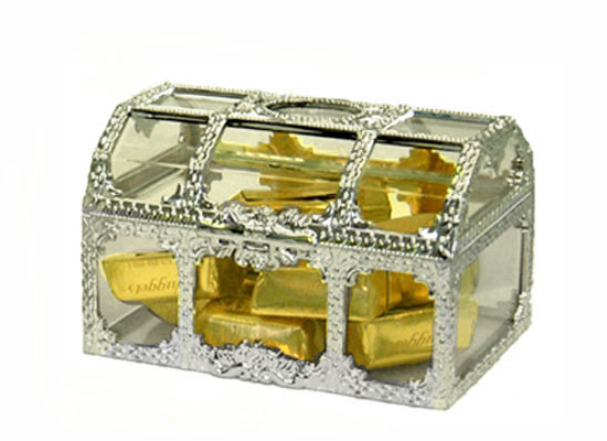 Medium Clear Favor Boxes : Silver plated mini treasure chest favor containers