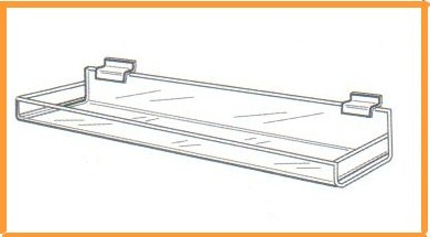 Acrylic Slatwall Shelf With Lip - Closed Ends
