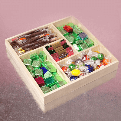 Small 5 Section Wooden Tray - 6ct